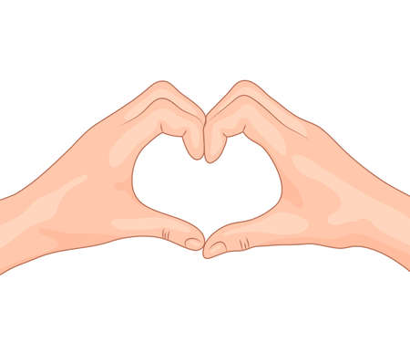 girl in love: Hands making a heart shape. Concept design of the symbol of love. Isolated vector illustration.