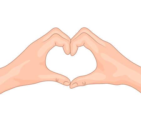 ragazza innamorata: Mani in una forma di cuore. Concept design del simbolo di amore. illustrazione vettoriale isolato. Vettoriali