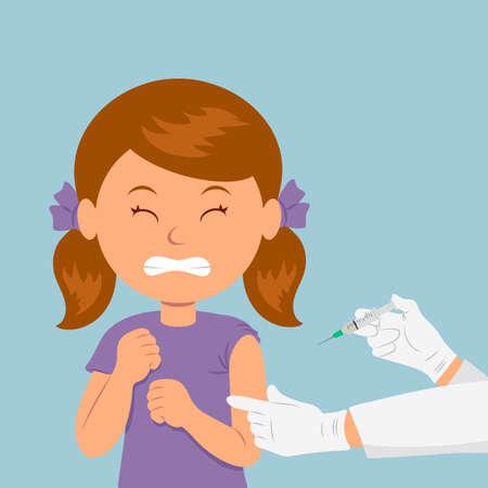 inmunidad: La chica frunci� el ce�o ante la visi�n de una jeringa. El ni�o tiene miedo de la inyecci�n. El cuidado de la inmunidad. Cuidado de la salud. Vectores