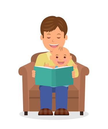 Padre e figlio, seduto in poltrona a leggere un libro. Leggendo il bambino prima di andare a dormire. Isolata illustrazione vettoriale di un padre e bambino seduto insieme in poltrona.
