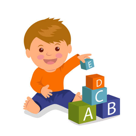 education cartoon: Cheerful toddler sitting collects a pyramid of colored cubes. Concept development and education of young children. Isolated vector illustration of a boy playing with colored cubes.