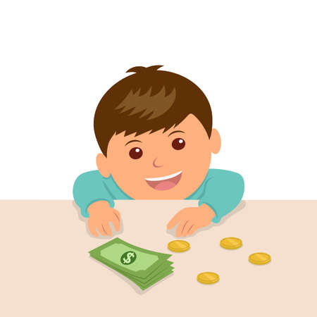 The boy put the money on the table to calculate their savings. The kid at the counter in the shop put the money to buy something. 矢量图像