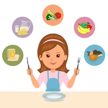 그 소녀는 뚱뚱한, 유제품, 채소, 과일 및 고기와 같은 음식 그룹의 음식을 선택합니다. 적절한 영양 섭취 선택. 건강과 신체 관리.