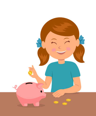 bank money: Cute little girl standing at the table puts coins in a piggy bank and dreams of buy something. The concept of saving money baby.