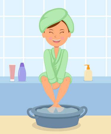Chica joven que toma los tratamientos de spa. Mujer en el albornoz mantiene los pies en agua caliente antes de una pedicura. cuidado de la piel independiente para los pies.