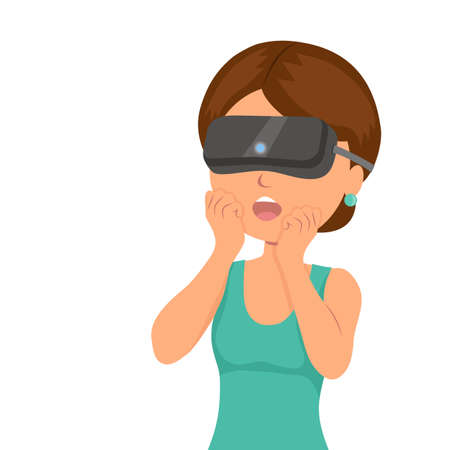 mouthed: Girl was surprised from seen in a virtual reality helmet. Modern technologies of entertainment, communication and video games. Isolated vector illustration.