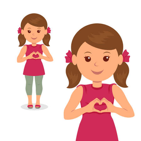 Cute girl making love sign with his hands. Isolated vector illustration of a child with folded hands heart symbol.