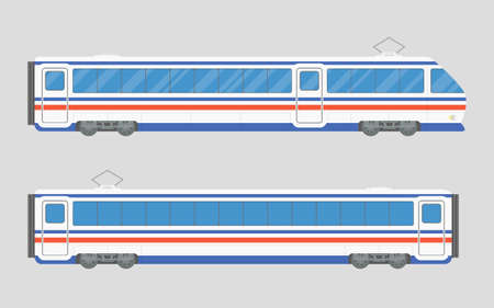 intercity: Isolated vector illustration of a train in a flat style. Locomotive and wagon.