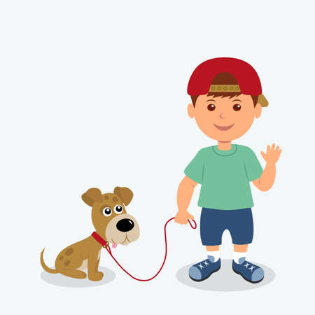 kid friendly: Boy and dog isolated on the white background. Kid friendly waving hand holding his puppy on a leash