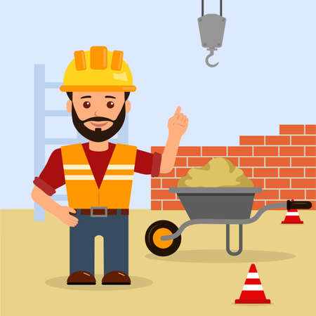 Male foreman at a construction site. Construction of the building. Cartoon illustration of a warning about the dangers on a construction site.