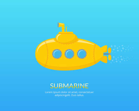 periscope: Yellow submarine with periscope swimming underwater. The research of the underwater world by using submarine.