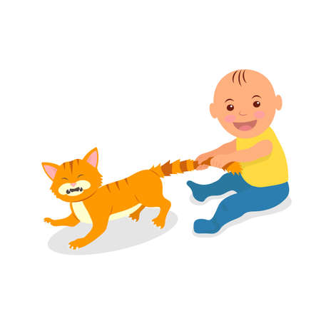 The kid plays with a red cat. Toddler grabbed the cat's tail. The cat bristled pain.