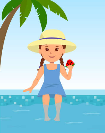 hot teenage girl: Cute girl in a hat sitting by the pool. Child sitting by the pool sunbathing and enjoying the watermelon. Childhood and summer vacation. Illustration
