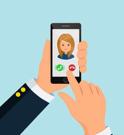 answers: The user holds the smartphone. Incoming call on the phone. Finger stretches the screen to answer the call.