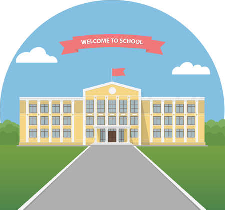 first house: Yellow school building in a landscape. School library. University or college building. Banner invitation back to school. Flat style illustration. Stock Photo