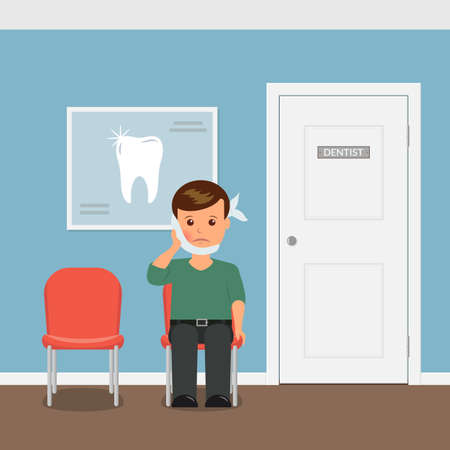 dressing treatment: The patient with toothache sitting on the chair waiting for an invitation to the dentists office. Boy with swelling of the cheek and a bandage. Treatment and care of teeth. Interior dental office.