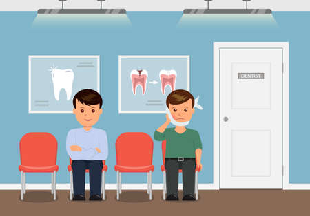 swelling: Dental office. Patients waiting for reception to the dentist. Boy with swelling of the cheek and a bandage. Man waiting for the annual checkup at the dentist. Treatment and care of teeth. Illustration