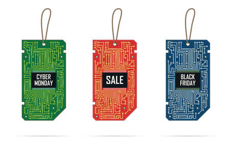 Collection of modern design label tags in the form of chip. Cyber Monday. Black Friday. Special offer tag. Label tags for promotions in shop computer and electronic equipment.