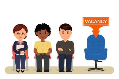 欠員。漫画、人々 の雇用のためのインタビューを待っている椅子に座っています。募集。人事管理。