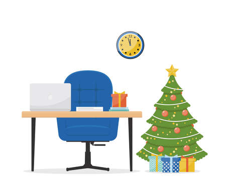 recreation rooms: New Years interior design concept on a white background. Office with a desk, laptop, armchair and Christmas fir-tree. Christmas decorations in the interior.