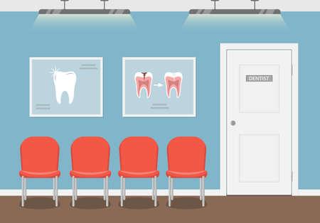 sala de espera para los pacientes en el consultorio dental. Interior de la odontología edificio. Ilustración del vector en estilo plano. Ilustración de vector