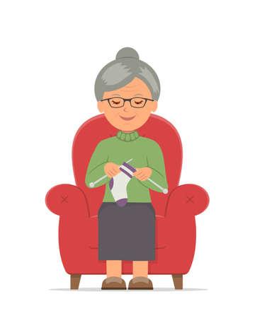 Breien. Oma zitten in een gezellige fauteuil breien. Tijdverdrijf van bejaarde vrouw in een comfortabele rode stoel breien. Geïsoleerde vector illustratie in vlakke stijl.