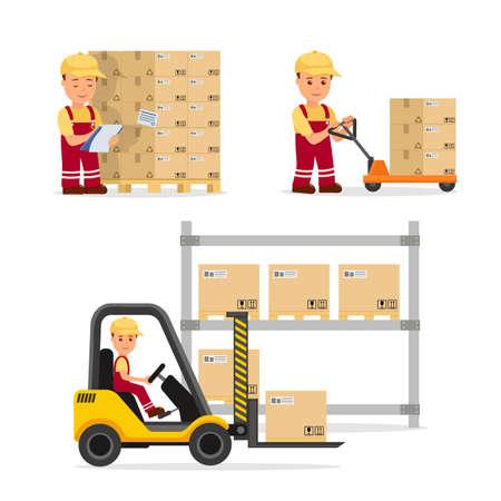 物流、貨物の保管、配信の分野でベクター人のセット。倉庫作業員の制服。インフォ グラフィックと web サイトの分離文字は。