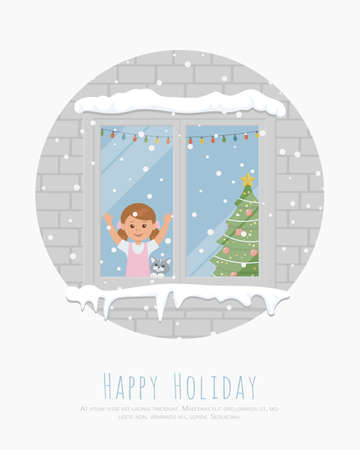 Girl and cat watching snowflakes out the window. Christmas banner. Christmas card for happy holidays. Flat vector illustration