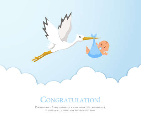 Cartoon stork in sky with baby. Design template for greeting card, baby shower invitation, banner. Congratulations to the newborn. Vector illustration in flat style. Illustration