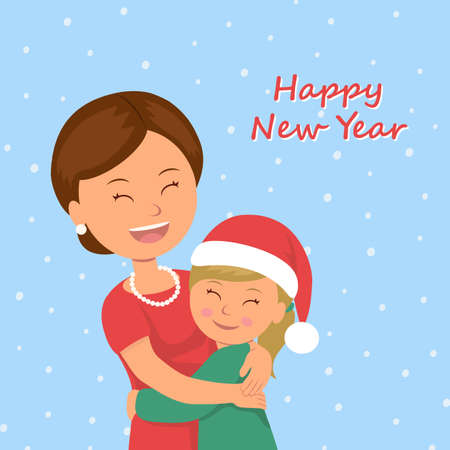 cuddling: Mom hugs her daughter. Child congratulates his mother Happy New Year. Happy family cuddling in celebration of Christmas Holiday. Vector Illustration in flat style.