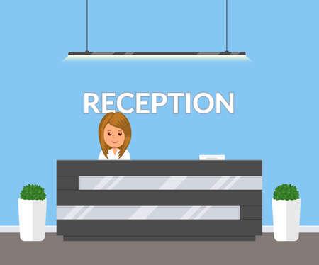 Accoglienza in ufficio moderno. ufficio affari, clinica o interno dell'hotel nei colori blu con fiori e reception. Hall Interni all'interno dell'edificio. Illustrazione vettoriale in stile piatto.