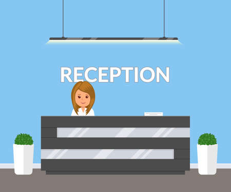Reception in modern office. Business office, clinic or hotel interior in blue colors with flowers and reception desk. Interior lobby inside building. Vector illustration in flat style. Stock Illustratie