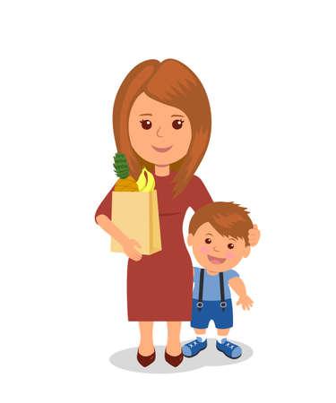 mujer en el supermercado: Madre e hijo con una bolsa de comestibles. personajes de dibujos animados de personas aisladas en el fondo blanco. Madre y el niño. copia de la trama. Foto de archivo