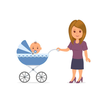 Mother with toddler in the pram. Mom and baby isolated on the white background. Baby sitting in stroller. Motherhood. Mother walking with a stroller. Vector illustration in flat style. Stock Photo