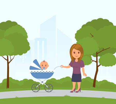Mom and toddler in pram on a walk in the city park. Baby sitting carriage. Mother walking with a baby carriage. Vector illustration in flat style.