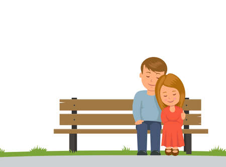 cuddling: Boy and girl cuddling sitting on a Park bench. Isolated on white background couple sitting on bench. Vector illustration in flat style.