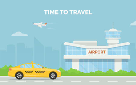Horizontal cartoon banner with airport terminal taxi car and a plane taking off in the background a city skyline. Vector flat design illustration of modern airport building and taxi service transfer. Illustration
