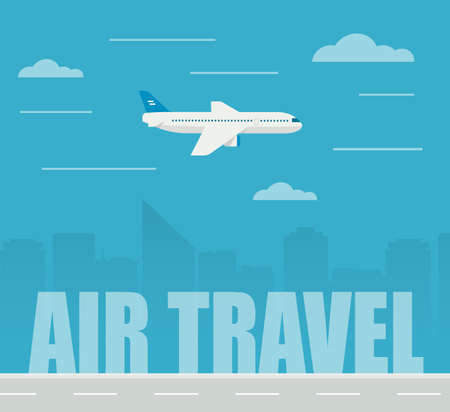charter: Flat design illustration airplane flying on the skyscrapers background. Air travel. Stock Photo