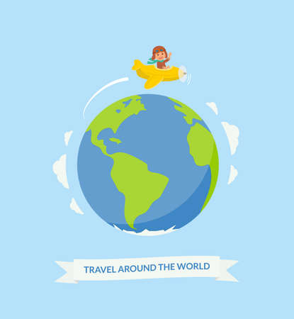 Cartoon boy riding plane around the world. Air travel. Cute pilot on a yellow airplane flying over the planet earth. Vector illustration in flat style.