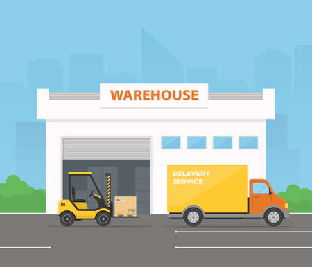Forklift is loading cargo from warehouse to truck. Delivery service. Logistics center. Vector illustration in flat style. Vektorové ilustrace