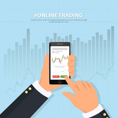 Online trading technology. Close-up of a persons hand holds smartphone with trade graphs. Binary options. Investing. Banner online trading on stock exchange. Flat vector illustration. Illustration