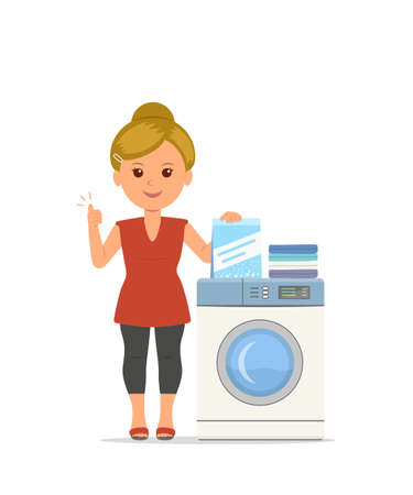 Vector cartoon woman housewife washes clothes in the washing machine. Illustration