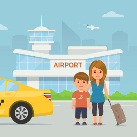 Cartoon mother and child with luggage on background airport terminal. Holidays and travel. Vector illustration family at modern airport building and taxi service transfer. Illustration