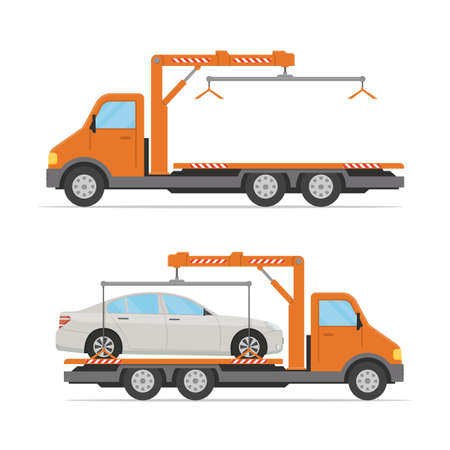 Set of tow trucks isolated on white background. Empty and loaded tow truck. Concept design of roadside assistance in a flat style. Vector illustration.
