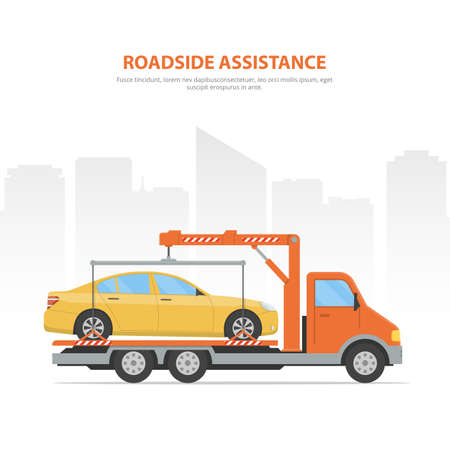 Cartoon banner roadside assistance. City skyline and tow truck with loaded car on the white background. Illustration