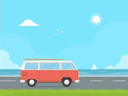 Camper van driving on a highway on the background ocean. Concept design travel camper with board for surf. Summer vacation.