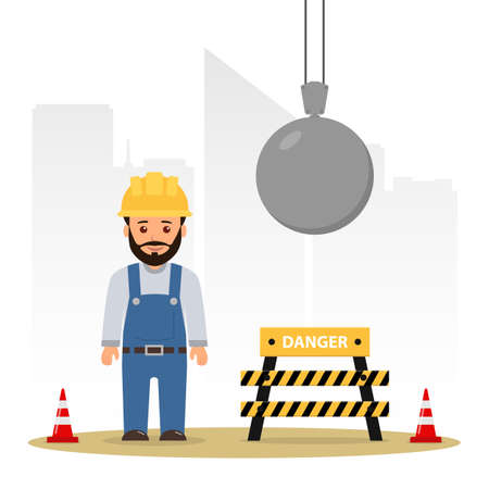 Builder at a construction site. Demolition of the building. Wrecking ball. Cartoon vector illustration danger on the construction site.