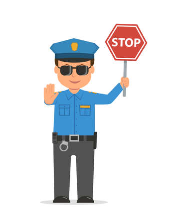 Traffic policeman holding a stop sign. Cartoon character policeman isolated on white background. Vector illustration police officer in modern flat style. Vettoriali