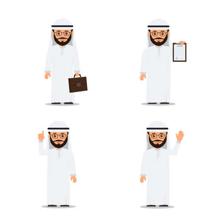 Set characters arab man in various poses. Arab businessman. Vector illustration in flat style Illustration
