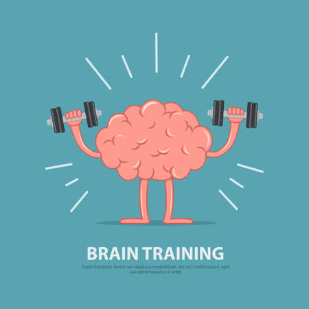 Brain power. Brain exercise. Cartoon brain character lifting dumbbells. Education concept.  イラスト・ベクター素材